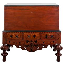 Antique Indo-Dutch Mahogany and Ebony Chest on Stand