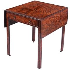Antique George II Burr Yew Pembroke Table in the Manner of Thomas Chippendale