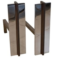 Pair of Polished Chrome and Brass Andirons by Danny Alessandro