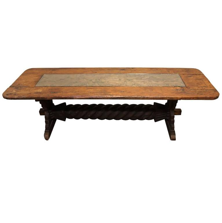 Massive Carved Trestle Table with Center Carving