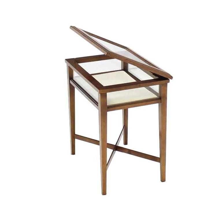 Small Lift Top End Table Display Case For Sale