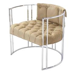 Chrome Lounge Chair New Mohair Upholstery