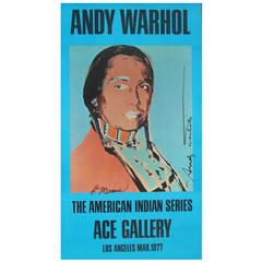Andy Warhol/Russell Means Signed Native American Poster for Ace Gallery, 1977