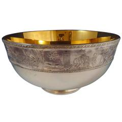 Franklin MInt Sterling Silver 24-Karat Gold Punch Bowl