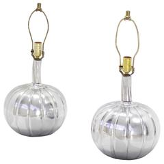 Pair of Stunning Metal Pumpkin Shape Table Lamps