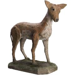 Naive Concrete Garden Sculpture of a Doe, circa 1950
