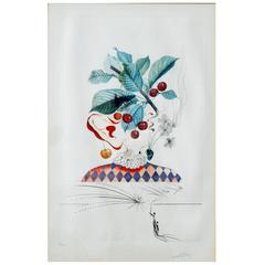 Salvador Dali Original Etching from Flors Dali Series, Cerises Pierrot 1969-1970