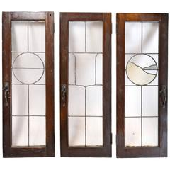 Set of Three Tudor French Windows with Leaded Glass Emblems, circa 1915