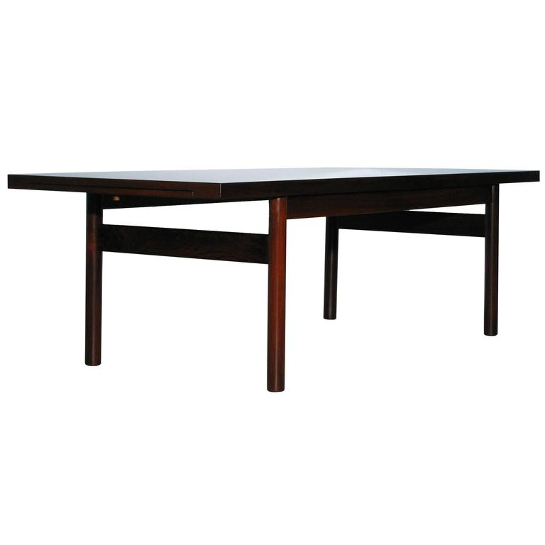 Danish Modern Rosewood Coffee Table With Extending Top At 1stdibs