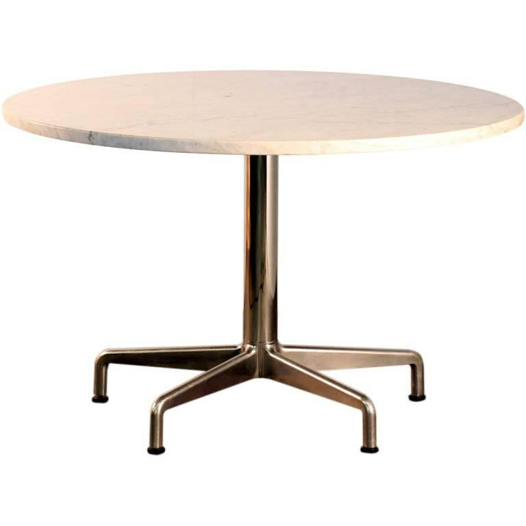 Segmented Base and Marble-Top Round Dining Table by Eames for Knoll