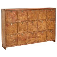 1880s English Pigeon Hole Cabinet with Drop-Down Doors