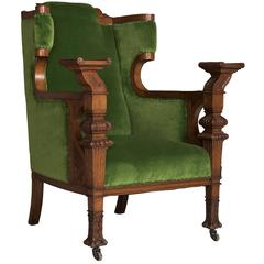 Green Velvet and Oak Armchair, circa 1860