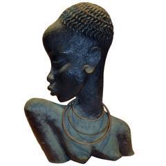 Hagenauer Bronze African Female Figure, Marked Made in Vienna and Rena