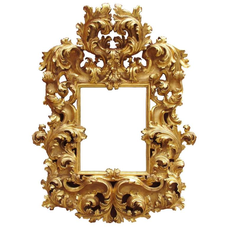Fine Palatial Italian 18th Century Florentine Giltwood Carved Mirror Frame