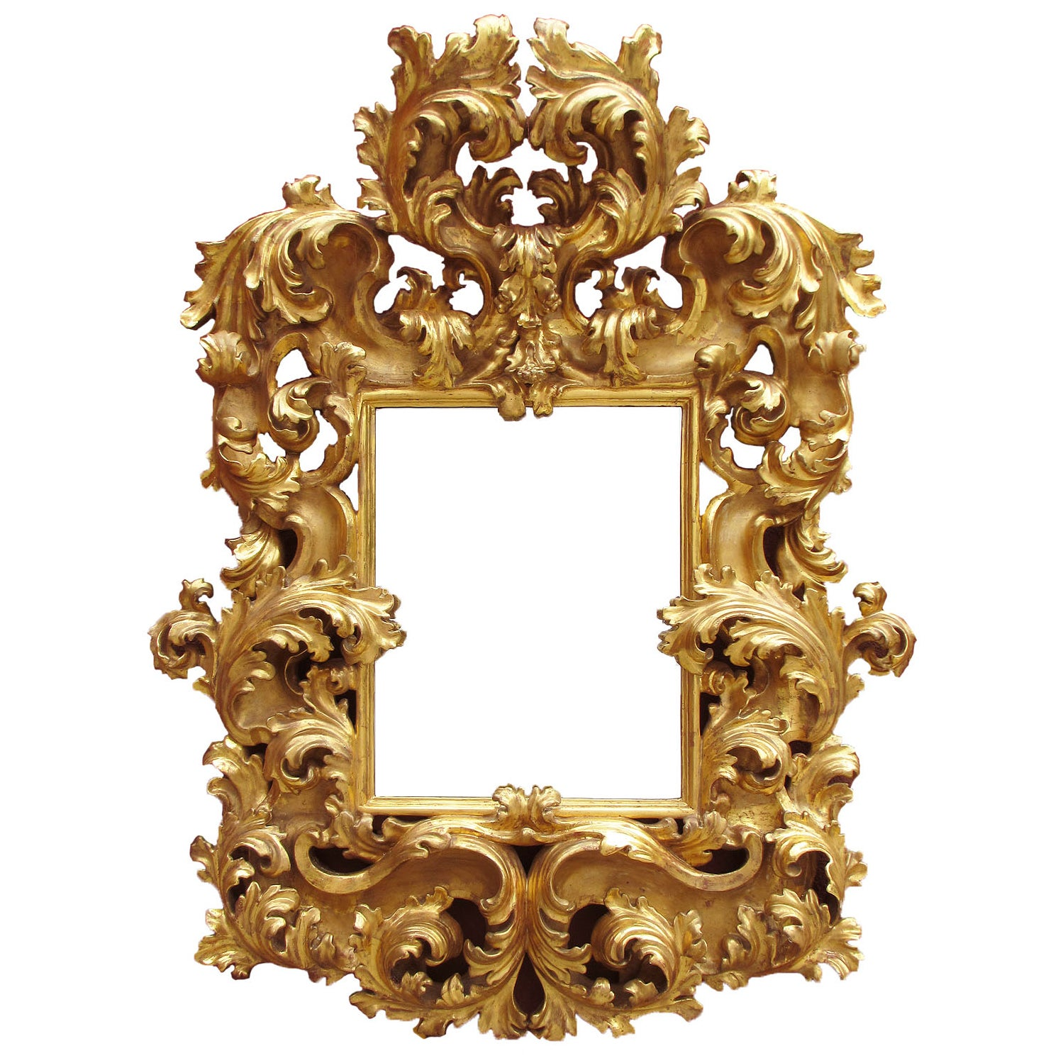 Fine Palatial Italian 19th Century Florentine Giltwood Carved Mirror Frame
