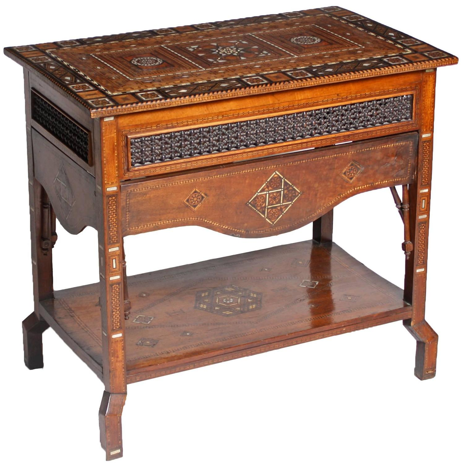 Middle Eastern Inlaid Couscous Table 1890 At 1stdibs