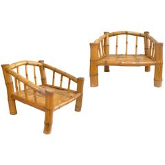 Pair of Low Bamboo Lounge Chairs