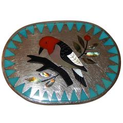 Dennis & Nancy Edaakie Zuni Inlay Woman's Sterling Belt Buckle with Bird Design