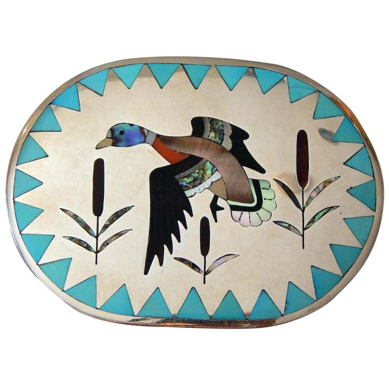 Dennis & Nancy Edaakie Silver Zuni Inlay Belt Buckle with Duck Design For Sale