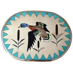 Dennis & Nancy Edaakie Silver Zuni Inlay Belt Buckle with Duck Design
