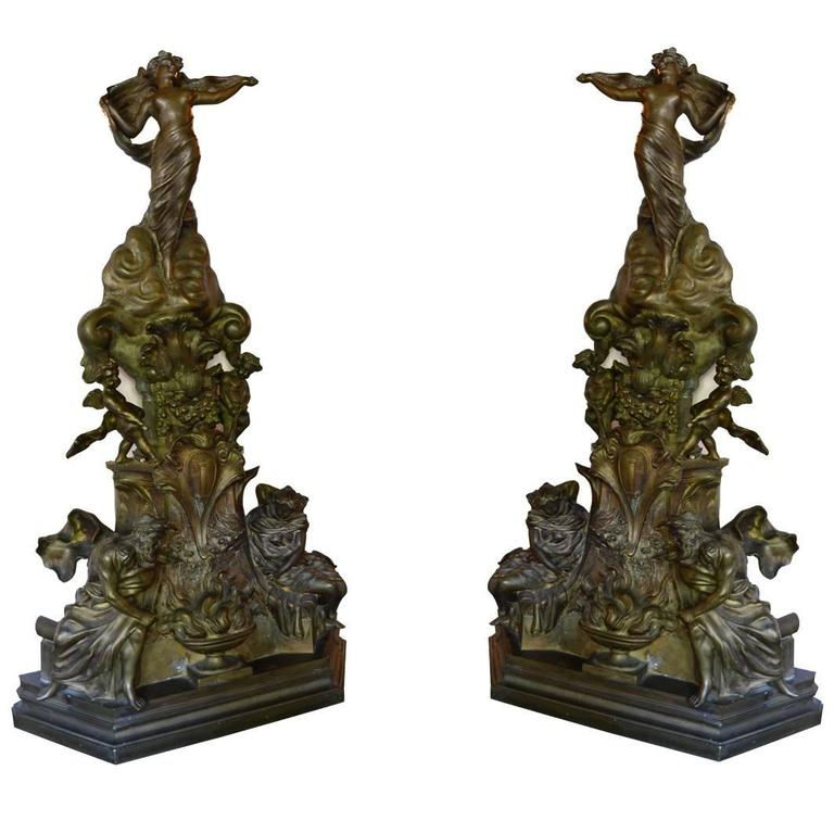large bronze antique fireplace andirons for sale at 1stdibs rh 1stdibs com Andirons Africa Andirons Africa