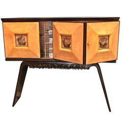 Italian 1950s Bar Cabinet Attributed to Paolo Buffa in Mahogany and Oak
