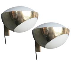 Pair of Sconces Max Ingrand for Fontana Arte in Brass