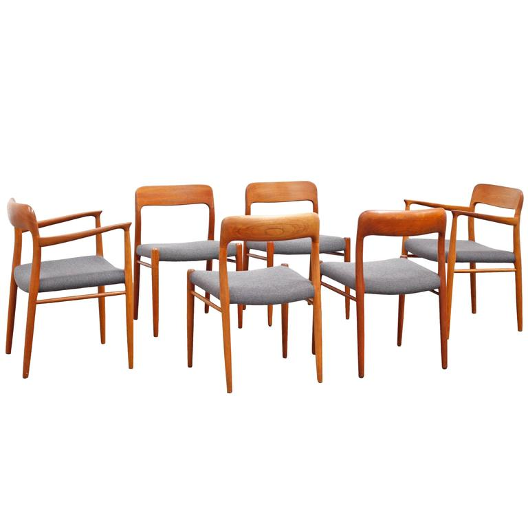 teak dining chair set by niels o moeller no 75 and no. Black Bedroom Furniture Sets. Home Design Ideas
