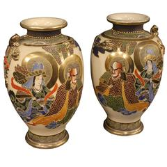 20th Century Pair of Japanese Satsuma Vases in Painted Ceramic