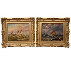 """""""Suffolk Fishing Boats"""" Pair by Christopher Maskell"""