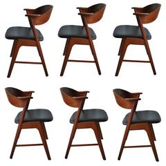Set of Six, Kai Kristiansen Dining Chairs, Teak and Leather