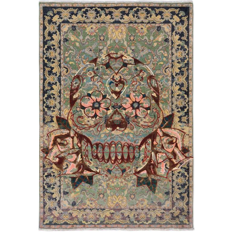 17th Century Modern King Umberto Skull' Hand-Knotted Wool & Silk Rug by Knots 1