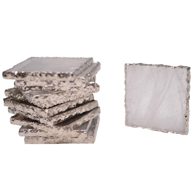 Group of Six Clear Rock Crystal Quartz Coasters at 1stdibs -> Munari Quartz