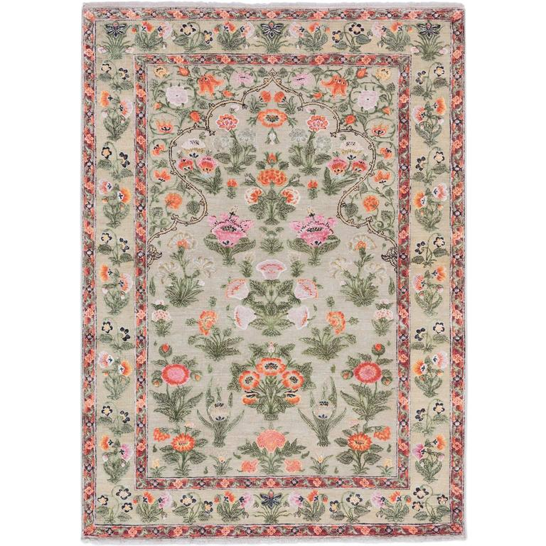 '17th Century Classic_Mughal No. 01' Jaipur Persian Knot Vintage Rug Wool Silk