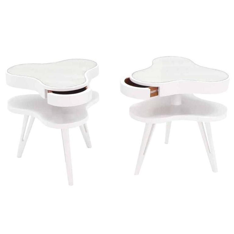 Pair of White Lacquer Pierced Legs Organic Shape End Tables