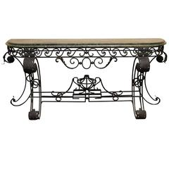 Neoclassical Style Wrought Iron Console Table Having a Marble-Top