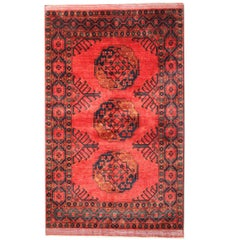 Small Afghan Rugs, Red Rug from Turkmenistan, Turkmen Living Room Carpet