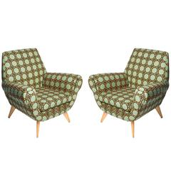 Pair of Italian Club Chairs Featuring Vintage Print Upholstery by LaDoubleJ