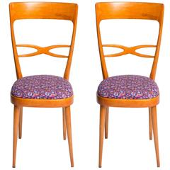 Set of Six 1950s Italian Chairs Featuring Vintage Upholsteries by LaDoubleJ