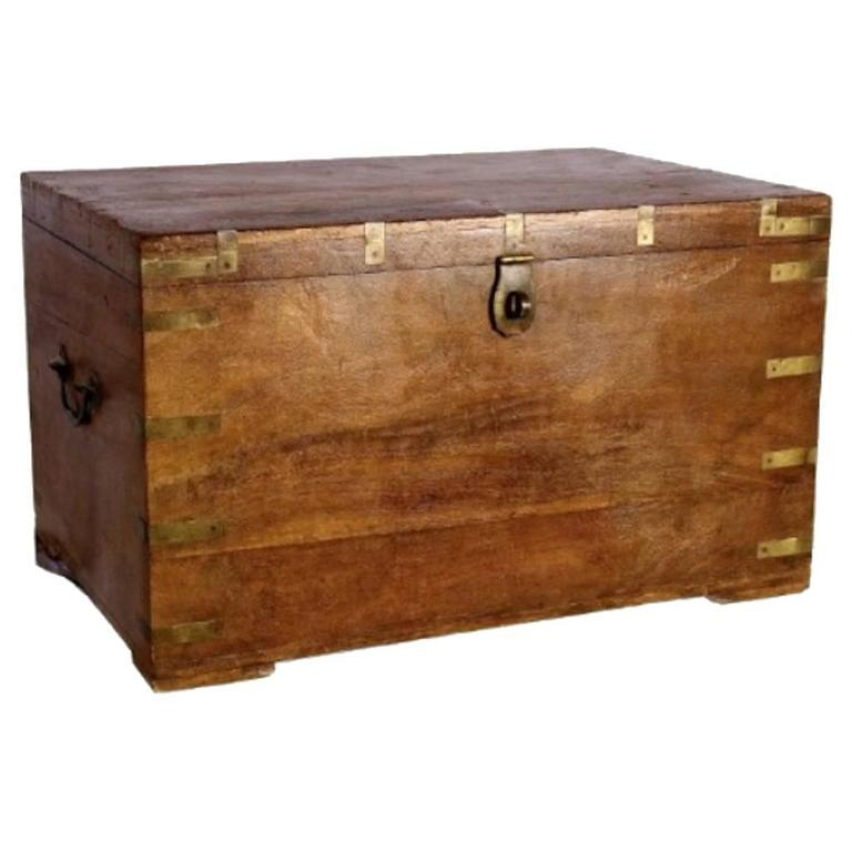 brass decorated wood trunk at 1stdibs
