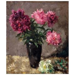 Flower Still Life by Pick Morino Early 20th Century Austrian Peonies Painting