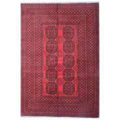 Fine Red Afghan Rugs, Turkman Design Carpet