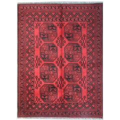 Red Afghan Rugs, Floor Rugs for Sale with Turkmen Design Carpet