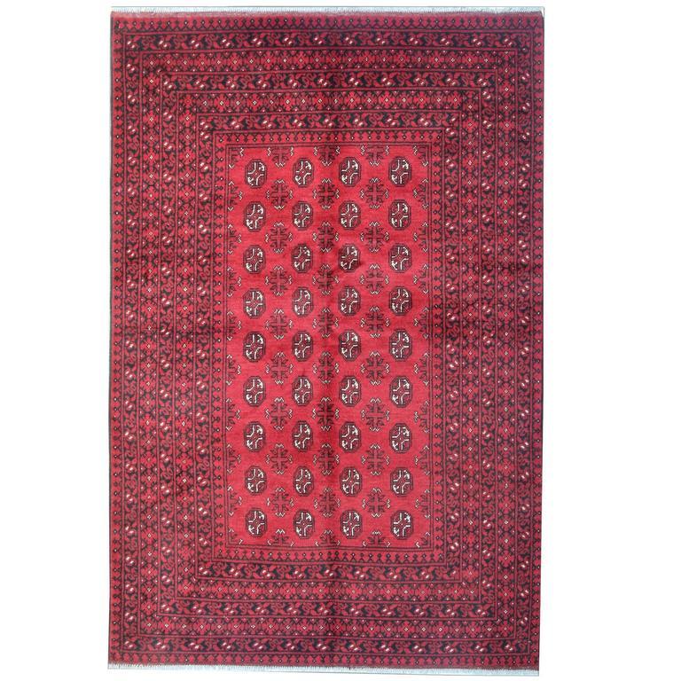 Red Afghan Rugs, Turkmen Design Carpet