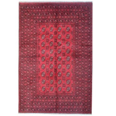Quality Red Afghan Rugs, Turkmen Design Carpet wool Rug Washable