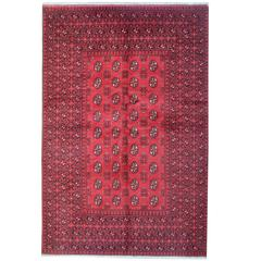 Red Afghan Rugs, Turkmen Design Carpet