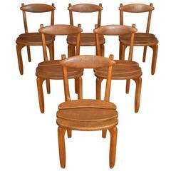 Set of Six Thierry Seats by Guillerme et Chambron for Votre Maison, circa 1970