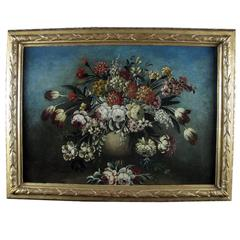 18th Century Italian Flowers Still Life Painting with Superb Giltwood Frame