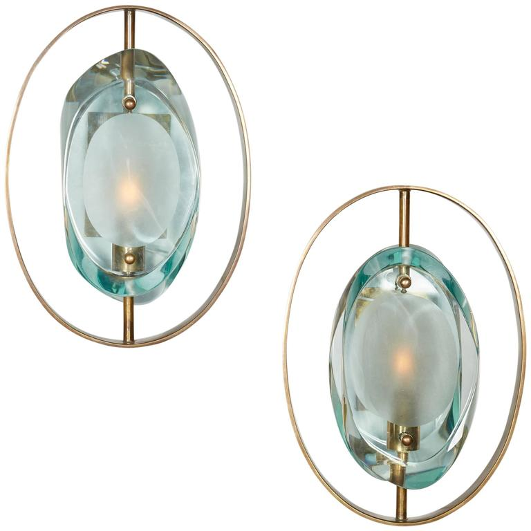 Handcrafted Italian Glass Sconces In the Style of Max Ingrand For Sale