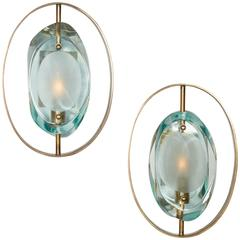 Handcrafted Italian Glass Sconces In the Style of Max Ingrand